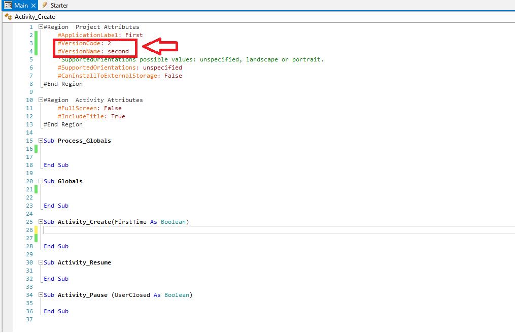 تغییر ورژن نیم و ورژن کد با basic4android